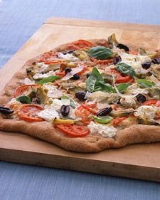The meaty artichoke hearts provide a nice balance to the light and creamy ricotta cheese. Take premade dough out of the fridge a few hours before you plan on using it to let it rise.   per serving: 537 calories; 24 g protein; 20 g fat; 68 g carb; 12 g fiber