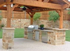 Fabulous outdoor kitchen barbeque design ideas with cherry wood kitchen pergola roog including cream stone kitchen counter and cream granite outdoor counter tops. Gorgeous Home Exterior Design And Outdoor Kitchen Barbeque Decoration Outdoor Kitchen Plans, Outdoor Kitchen Countertops, Backyard Kitchen, Outdoor Kitchen Design, Outdoor Cooking, Backyard Patio, Backyard Landscaping, Outdoor Kitchens, Backyard Ideas