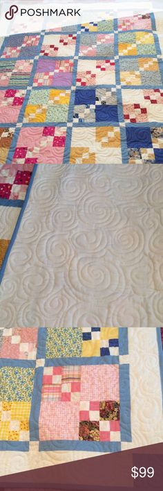 Precious Homemade Baby Quilt Machine quilted NEW Homemade baby quilt with swirl quilting in precious colors and backed in white. Homemade Accessories