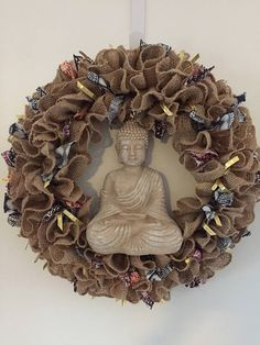 Burlap Buddha wreath batik ribbon ruffle  wreath gold