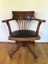 Antique Vintage Oak Captains Swivel Chair With Leather Seat   Office Desk  Chair