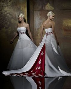 Satin Strapless A-line Gown with Split Back and Color Inset Style - Bridal Gowns - RainingBlossoms Colored Wedding Dresses, Cheap Wedding Dress, Bridal Dresses, Bridesmaid Dresses, Red White Wedding Dress, Red Wedding Gowns, White Dress, Lace Wedding, Dresses Uk