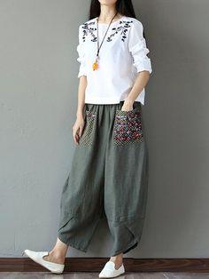 Casual Print Patchwork Loose Irregular Pants For Women