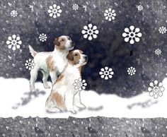 Jack Russells in the snow fat quarter by KathysCraftShop on Etsy
