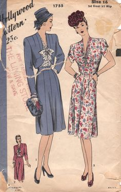 Lovely 1940s Vintage Dress & Jacket Pattern by OneMoreCupOfTea, $19.00
