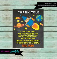 Space Ship Outerspace Rocket Planets Spaceship thank you card