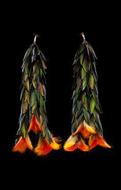 Ecuador - Upper Amazonia | Pair of ear ornaments ('akitiai') from the Shuar people; beetle wings, toucan feather/feathers, wood, vegetal fiber, glass bead/beads | ca. 1930