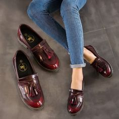 Womens Retro Oxfords Leather Flat Low Heels Brogues Wingtip Lace Up Tassel I169