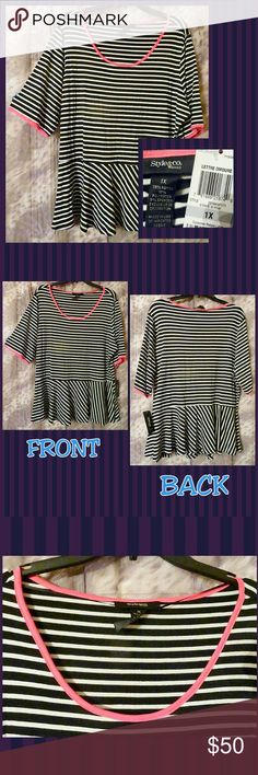 """Black & White W/Pink Trim Striped Peplum Top 1X BRAND NEW W/TAGS Style & Co Woman brand Black & White W/Hot Pink Trim Striped Peplum Top 1X.  -All over stripes design -All over black & white colors w/hot pink trim -Scoop neckline -Short sleeves -Flare bottom -Has all over stretch -Super Lightweight -Super soft knit material -Made of 78% Rayon/16% Polyester/6% Spandex  NOTE: Flash was used to show details.  MEASUREMENTS: Pit to Pit: 25""""+ Sleeve Length(starting at shoulders): 12.5"""" Waist: 23""""…"""