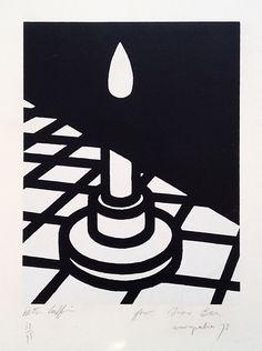 Patrick Caulfield. Candle (Europalia), 1973 [source] Graphic Design Illustration, Graphic Art, Illustration Art, Candle In The Dark, Light In The Dark, Pop Art, Art Design, Book Design, A Level Art