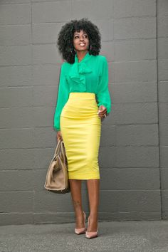Style Pantry   Green Tie Front Blouse + Yellow Pencil Skirt