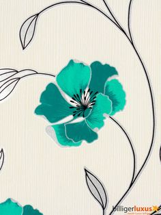 A.S. Création PANDORA vinyl wallpaper 2924-21 292421 flowers silver glittering turquoise Wallpapers A.S. Création Pandora