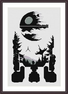 Star Wars Cross Stitch PDF pattern R2D2 - Death Star - Silhouette