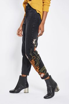 MOTO Tiger Embroidered Mom Jeans - Jeans - Clothing - Topshop USA