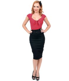 Sit pretty, darlings! An infinitely flattering pencil skirt has arrived in a chic black! This pliable cotton twill piece is designed to slim with a high waist design, pristine seaming and thick removable three-snap stretch belt. Crafted from a sturdy stretch blend designed to clutch curves and show you off fabulously. Wiggle with the best of them!<BR>  Available in sizes S-2X while supplies last.