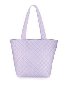 Neiman Marcus Sutton Quilted Nylon Tote Bag, Lilac (Purple), Women's