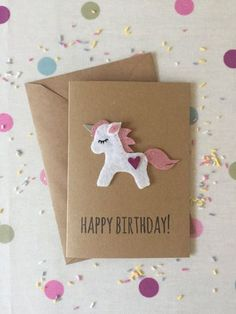 This Unicorn Birthday Card, Felt unicorn Birthday Card, Felted Card is just one of the custom, handmade pieces you'll find in our birthday cards shops. Unicorn Birthday Cards, Unicorn Party, Cumpleaños Diy, Karten Diy, Unicorn Crafts, Kids Cards, Holidays And Events, Invitation Cards, Party Invitations Kids