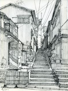 Architectural Sketches Back alley. Sketch by Suzuken Architectural Sketches Back alley. Sketch by Suzuken Architectural Sketches Back alley. Sketch by Suzuken The post Architectural Sketches Back alley. Sketch by Suzuken appeared first on Nagel Art. Sketch Painting, Drawing Sketches, Art Drawings, Drawing Art, Sketch Art, Drawing Ideas, City Sketch, Eye Sketch, Pencil Drawings
