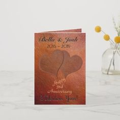 Personalised Faux Leather 3rd Wedding Anniversary Card | party invitation ideas