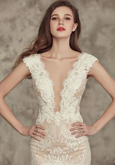Ivory and Nude Wedding Dress | Calla Blanche | http://trib.al/EDZa8qn