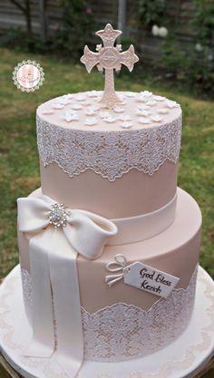 decoracao de primeira comunhao bolo rose rendas