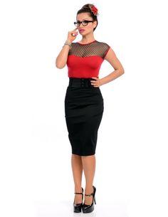 Inked Boutique - Strut Skirt With Belt Black Retro Vintage inspired  Rockabilly Pinup Pencil Skirt Clothing http://www.inkedboutique.com