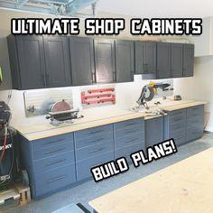Upper Cabinets, Diy Cabinets, How To Build Cabinets, Diy Garage Storage Cabinets, Kitchen Cabinets In Garage, Cheap Garage Cabinets, Building Cabinets, Plan Garage, Garage Ideas