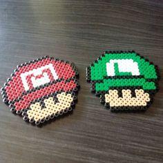 Mario and Luigi mushhroom hama beads by hae_urusai: