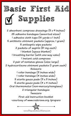 Basic First Aid Kit, Diy First Aid Kit, First Aid Kit Supplies, Camping First Aid Kit, First Aid Tips, First Aid Kit Checklist, Survival Life, Survival Prepping, Emergency Preparedness
