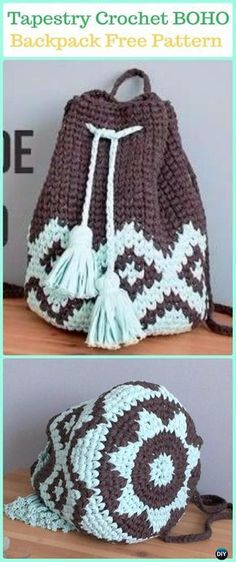 Tapestry Crochet BOHO Backpack Free Pattern Video -Tapestry Crochet Free Patterns #crochetpatterns