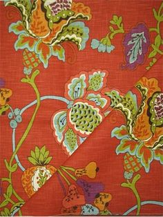 Leopold Persimmon: cotton jacobean print from Richloom Fabrics. Multi purpose fabric for drapery, upholstery, slipcovers or pillow covers. V H up the roll repeat. Textiles, Textile Prints, Textile Design, Curtain Fabric, Fabric Sofa, Curtains, Persimmon Color, Jacobean, Fabulous Fabrics