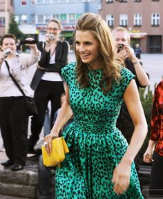 Stana Katic wore Yvan & Marzia Green Leopard Print Dress at the Zlin Film Festival in 2011 (Photo Most Beautiful Women, Beautiful People, Nathan Fillon, Children's Films, Movies, Stana Katic Hot, Kate Beckett, Dress Hairstyles, Daily Fashion