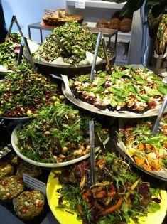 Salad display. Not this many !! But this kinda idea