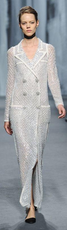 Chanel | dove grey sparkly silver dress w/ suit lapels