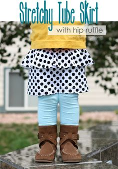 Stretchy tube skirt with hip ruffle tutorial!