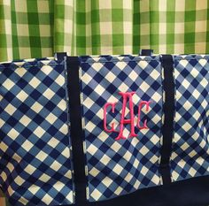 Purchased--Gingham monogram tote bag blue by preppypapergirl on Etsy