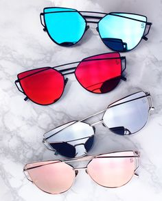 """Look how gorgeous these are  Mirrored Cat Eye Sunnies Under $20. Use code """"PINTEREST"""" for 15% OFF your order https://sequinsand.com/collections/sunglasses/products/barcelona-shades-pacific?variant=20761865030"""