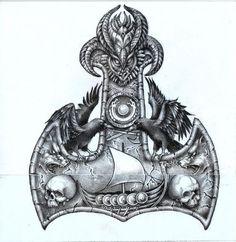 Thors Hammer Back Piece - die schönsten Tattoo-Modelle Norse Mythology Tattoo, Norse Tattoo, Raven Tattoo, Celtic Tattoos, Viking Tattoos, 3d Tattoos, Sleeve Tattoos, Body Art Tattoos, Tattoo Ink
