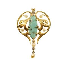 Gold Art Nouveau pendant with diamonds natural seed pearls and turquoise by adinantiquejewellery on Etsy https://www.etsy.com/listing/260740099/gold-art-nouveau-pendant-with-diamonds