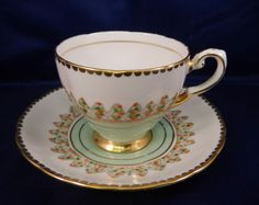Art-Deco-Tuscan-Plant-Demitasse-Coffee-Cup-Saucer-Duo-Pastel-Pink-Green