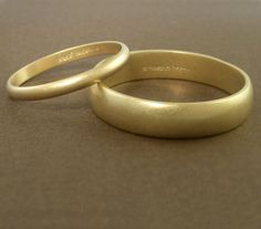 Gold Wedding Band Ring Set Handmade - Personalized 2mm and 5mm Matte Finish on Etsy, $750.00