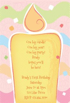 """One Big Candle""  printable invitation template. Customize, add text and photos. Print or download for free!"