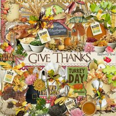 A Thanksgiving themed collection designed to coordinate with the Give Thanks scrapbook kit from Raspberry Road.