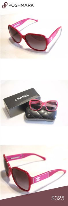 bdb71320a358c CHANEL HOT PINK  amp  WHITE SUNGLASSES These fabulous hot pink sunglasses  from Chanel are accented