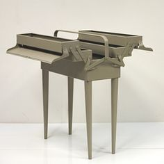 Upcycle an old tool box for craft storage. The amazing series of consoles created by French studio M.