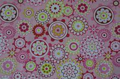 rosa Baumwollstoff mit Blumen Kreisen Mandala 50 x 160 cm Nähen Stoff - Stofferia