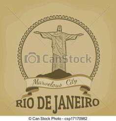 Río, Janeiro, (Marvelous, City), vendimia, cartel - csp17170982