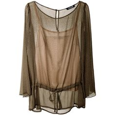 RAXEVSKY TRANSPARENT Khaki Top (€69) ❤ liked on Polyvore featuring tops, blouses, shirts, blusas, sheer long sleeve top, long sleeve blouse, long sleeve shirts, loose blouse and sheer long sleeve shirt
