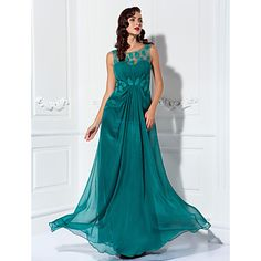Sheath/Column Scoop Floor-length Chiffon And Tulle Evening Dress – USD $ 139.99