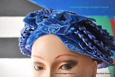Ratan and blue velvet turban 20´